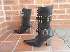 NEW ROCK * M.7813 C1 * Black Leather Calf High Boots W Bullet Strap * 5uk * BNWB