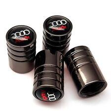 New Audi car tyre valve dust caps pack of 4x metal grey wheel valve caps
