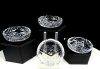 """AMERICAN BRILLIANT CUT CRYSTAL MITRES & STARBURST 4 PIECE 2 3/4"""" BUTTER PATS"""