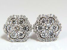 1.50ct round natural diamond cluster halo stud earrings g.vs 14kt