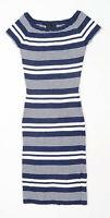 Lu NYC Womens Size M Striped Cotton Blue Bodycon Dress (Regular)