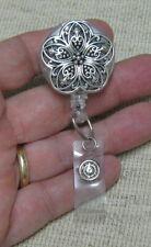 Silver Filigree Flower Medallion Retractable BADGE REEL ID BADGE HOLDER