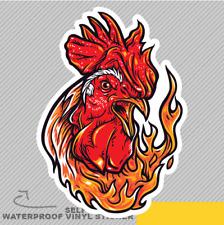 Rooster On Fire Farm Red Spicy Chic Vinyl Sticker Decal Window Car Van Bike 2455