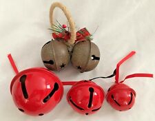 "Red Brown 2"" to 3.5"" Jingle Bell Christmas Ornaments - Lot of 5"