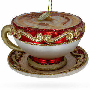Red Cappuccino Cup Glass Christmas Ornament
