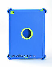 Defender Rugged Hard Shell Case for iPad Air 2 w/Stand Cover (Blue/Lime Green)