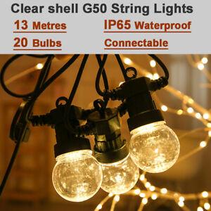 13M 20 LED G50 Clear Bulbs Outdoor Connectable Garden Patio Festoon String Light