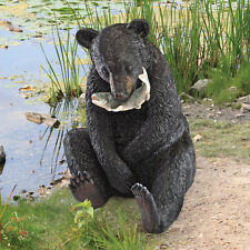 Realistic Bear Cub Fish Eating Woodland Statue Garden Sculpture Black Bears New