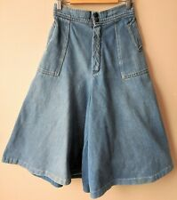 70s Vintage Denim Goucho Pants Culotts 8 Split Skirt Jeans Boho Blogger Hippy