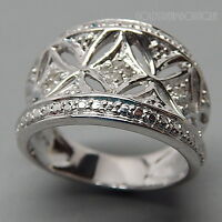 AMAZING GENUINE DIAMOND FLORAL ORNATE WIDE CONCAVE 925 SILVER WEDDING BAND RING