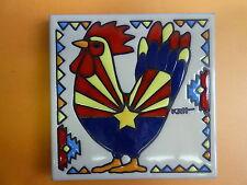 "Ceramic Art Tile 6""x6"" Southwest Rooster Chicken Arizona flag Unique NEW J16"