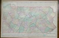 "Vintage 1900 PENNSYLVANIA Map 22""x14"" Old Antique HARRISBURG MEDIA PHILADELPHIA"