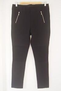 ZARA  Black Moto Biker Legging Pants  Size XL / 14  BRAND NEW WITHOUT TAGS