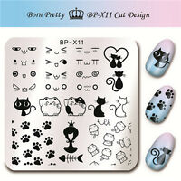 6Pcs BORN PRETTY Nail Art Stamping Plates Cat&Facial Image Stamp Template