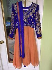 Orange and blue Embroidered Kurti Dupatta Set