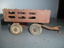 Antique Toy Farm Trailer Pressed Steel Wood Wheels