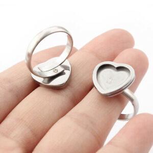 4x Stainless Steel Ring Base 12mm dia Heart Cabochon Settings Blank Bezels Trays