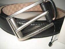 $375 NEW GUCCI Mens 40 IN 100 CM Black Leather Dress Belt Silvertone Logo Buckle