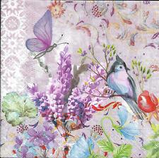 Lot de 4 Serviettes en papier Fleurs Oiseau Papillon Decoupage Decopatch