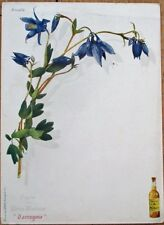 Chartreux 1910 French Advertising Botanical Menu w/Ancolie/Columbine Flowers