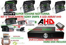 KIT VIDEOSORVEGLIANZA DVR 8 CANALI HD 32OGB 4 TELECAMERE AHD 2MPX 4 LED ARRAY