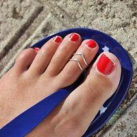 "Women Lady Simple Retro ""V"" Open Toe Ring Adjustable Foot Beach Jewelry P*CA"