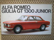 ALFA ROMEO GIULIA GT 1300 JUNIOR SALES BROCHURE PROSPEKT ITALIANO ORIGINALE 1967