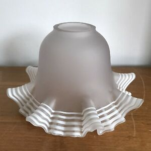 Vintage Milk Glass Light Shade Hand Made Frill Edge White Piping Detail Cloud