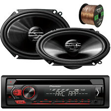 "Pioneer DEHS1200UB 1-DIN Receiver, 2 x 6x8"" 250W Max Car Speakers, Speaker Wire"