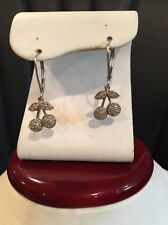 14k White Gold Cherry Earrings With 36 Genuine Diamonds