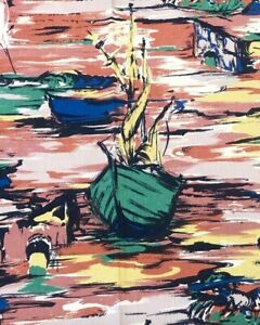 1950s VINTAGE COTTON FABRIC. 'APPLEDORE'. PAINTERLY DEVON SEASIDE SCENE.
