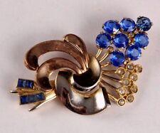 VINTAGE Blue Rhinestones Floral Flower Pin Brooch Circa 1940s