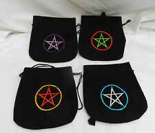 Black Velvet Drawstring Pouch with Embroidered Pentagram - Rune Stone Bag ? BNWT