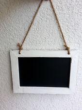 Tafel Kreidetafel Shabby Design 31x25 cm Weiss / Schwarz Sisalband