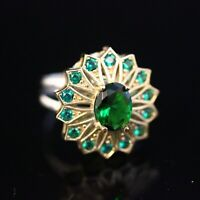 925 Sterling Silver Handmade Authentic Turkish Emerald Ladies Ring Size 8