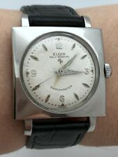 1950's ELGIN AUTOMATIC STAINLESS STEEL SQUARE CASE Cal. 645 ORIGINAL DIAL RUNS