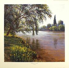 Lionel Aggett tranquillité la seine river boat sgd ltd! taille: 52cm x 54cm neuf rare
