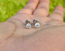 Genuine .40tcw Diamond 14k Solid White Gold Studs Earrings (Screw Back)