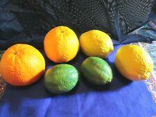 6 Pieces Faux Citrus Fruit, Heavy Hard Plastic, Decor~2ea Oranges, Lemons, Lime