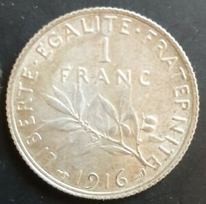 1916 France 1 Silver Franc Coin Brilliant Uncirculated...