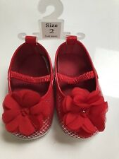 Baby Girl Red Flower Shoes - Size 3 (3-6 Months)