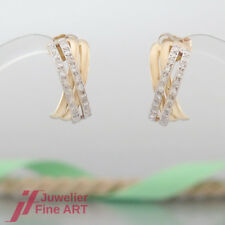 OHRRINGE-Stecker-Halbcreolen mit je 26 Brillanten (Diamant) - 18K/750 GG/WG
