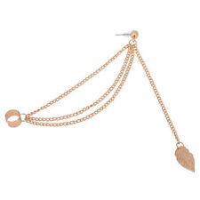 Fashion Punk Leaf Chain Tassel Dangle Ear Cuff Wrap Earring Girl Jewelry