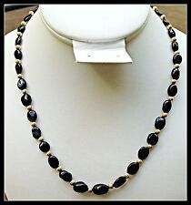 Genuine Black Tourmaline Gemstone Necklace 20 Inch Gold Plated Beads