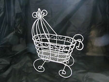 "Fancy Wire Baby Carriage  - For Baby Shower Decorations - 10"" Tall"