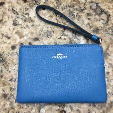 NWT Coach F58032 Corner Zip Wristlet Wallet Crossgrain Leather - you pick color