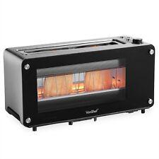 VonShef Glass Toaster 2 Slice Wide Slot Bagel Toast Electric Browning Control