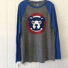 True Fan MLB Men's Medium Chicago Cubs Raglan Shirt Baseball Tee Genuine NEW