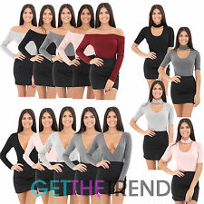 Womens Choker Neck Plunge V neck Long Sleeve Leotard Ladies Plain Cheap Bodysuit