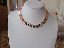 Brand new  gold collar necklace with clear Crystals